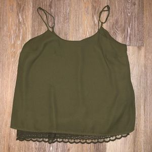 Green Tank Top with Lace Detail